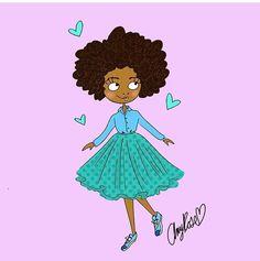 Inspired by @igobyfrankie || Done by @amyrosestudios || afro hair art. black hair art. Illustration inspired by @igobyfrankie.