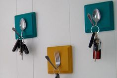 Key Hooks for Kitchen- I made these and they turned out even better! I used antique silverware and got a much better curve for the hook.