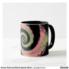Green Pink and Black Splash Abstract Swirl Mug