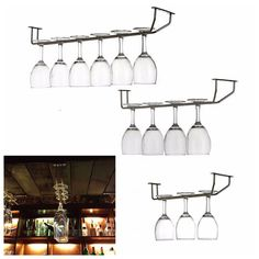 New Champagne Stemware Holder Chrome Plated Wine Rack Glass Cup Kitchen Wall Bar Hanger Enclosed Stainless Steel Screw