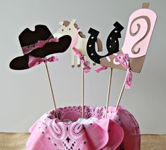 Adorable Cowgirl Birthday Party Centerpiece $10.00.    www.webringtheparty.etsy.com
