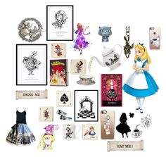 """""""Alice's adventures in wonderland 👱🏻♀️🐇🐈🍄💗🃏♠️♣️♥️♦️🎞⏱"""" by fri0002 on Polyvore featuring Avenida Home, Casetify, Eleanor Stuart, Mrs Moore, Bassike, Menu, Olympia Le-Tan, Melissa, Wedgwood and Disney"""