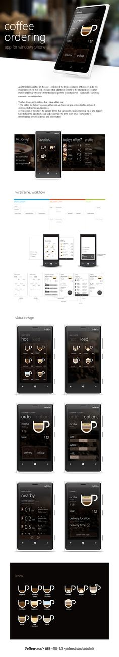 Windows app for ordering coffee on-the-go. by Michael Novoselov, via Behance