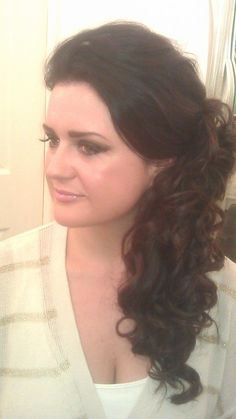 Side curls long party hair using additional clip in hair by Sandra Jones #ghd #curls #bride #bridal #wedding #prom #long #hair