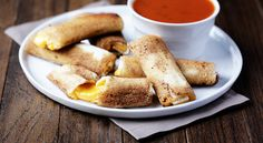 """Grilled Cheese Rolls These are your typical grilled cheese sandwiches, just flattened out and formed into delicious little """"rolls"""" that are even more perfect for dipping! Grilled Cheese Rolls, Grilled Cheese Recipes, Grill Cheese Roll Ups, Loaded Baked Potatoes, Cheese Rolling, Wrap Sandwiches, Food Dishes, Easy Meals, Yummy Food"""