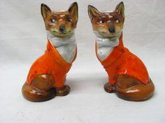 RARE PAIR ROYAL BAYREUTH FOX CANDLESTICKS HOLDERS