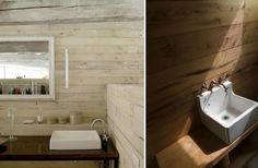 White rectangular sinks on wood planks - L: photographer Richard Powers, R: Wells Mackereth - Remodelista