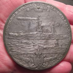 1914 Zeppelins as Part of The Navy Zeppelin Over Warships Large Medal 466 Zeppelin, Aviation, Coins, German, War, Personalized Items, History, Deutsch, Historia