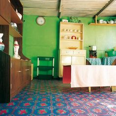 Shack chic: Residents experiment with wall and floor colours. From the book, Shack Chic, a collection of photographs celebrating the art and innovation of slum dwellers in South Africa. | www.quivertreeimages.com New Africa, South Africa, Floor Colors, Slums, Interior Walls, Go Green, Color Blocking, Colour Block, Your Space