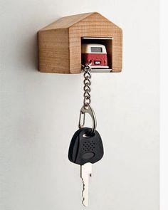 [BB-Blog]: VW Bus Keychain with Wooden Garage.