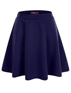 Doublju Versatile Elastic Waist Flared Mini Skater Skirt Plus size available PRUSSIANBLUE LARGE *** More info could be found at the image url.