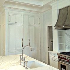 Fridge - Conceal: no visible band of metal......................A Dream Kitchen Salvaged and the Perfect Cabinet Color