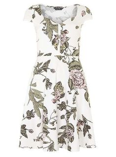 Dorothy Perkins Womens **Tall Ivory floral sun dress- White Cap sleeve jersey sundress with button detail in floral print. Length approx 101cm 96% Cotton,4% Elastane. Machine washable. http://www.MightGet.com/january-2017-13/dorothy-perkins-womens-tall-ivory-floral-sun-dress-white.asp