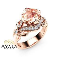 Gespout Women's Bow Ring Rose Gold Zircon Ring Crystal Ring Engagement / Wedding Jewelry size T ( Morganite Engagement, Morganite Ring, Engagement Rings, Wedding Engagement, Wedding Rings Rose Gold, Wedding Rings For Women, Wedding Jewelry, Wedding Bands, Rhinestone Bow