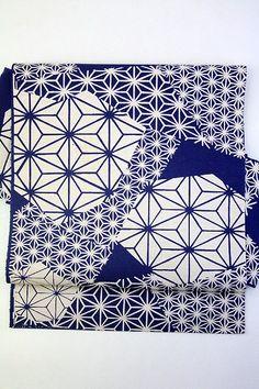 Blue Nagoya Obi, Dyed Hemp Leaves Pattern Japan