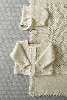 Heirloom Layette- Blanket Bonnet Sweater Pattern