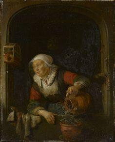 Gerard Dou. Oude vrouw die bloemen water geeft. ca. 1660-1665. Royal Trust Collection, London. Dit schilderij lijkt wat moraal betreft op Dou's schilderij: Oude vrouw met kan in een venster. Op dit schilderij komt een weegschaal voor die rechts van de figuur hangt. Dit voorwerp bevat mogelijk een toespeling op de deugden matigheid en onthouding en is een passend symbool voor een nijvere vrouw.
