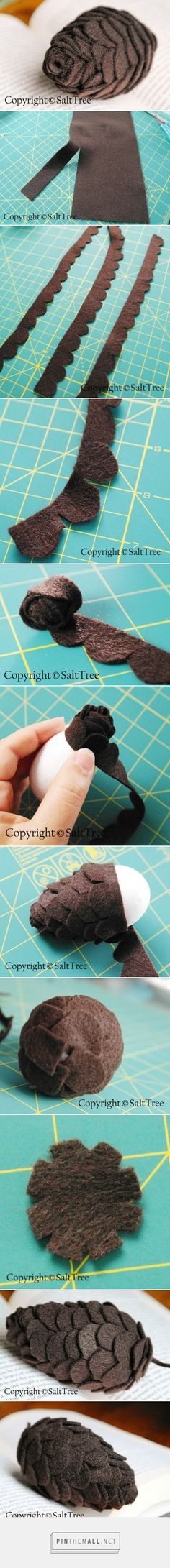 Felt Pinecone Tutorial – Victor - created on Felt Crafts, Holiday Crafts, Fabric Crafts, Crafts To Make, Felt Flowers, Fabric Flowers, Felt Wreath, Felt Christmas Ornaments, Christmas Art