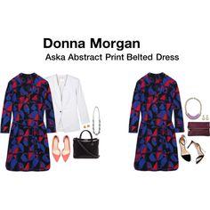 Aska Abstract Print Belted Dress