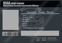 Here is a template for making your own BSAA (Bioterrorism Security Assessment Alliance) ID Card. It's based on official Chris Redfield and Sheva Alomar . BSAA ID Card Template Business Card Template Photoshop, Id Card Template, Program Template, Passport Template, Blank Business Cards, Elegant Business Cards, Custom Business Cards, Welcome Card, Printable Cards