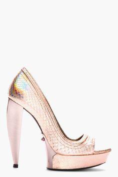 Lanvin Pink Leather Hologram Peep Toe Pumps
