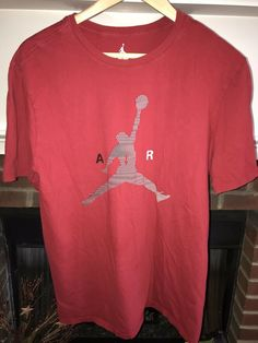 273c44a6c5d2 Air Jordan Nike Mens Large Shirt Red W Gray Jumpman Logo  fashion  clothing