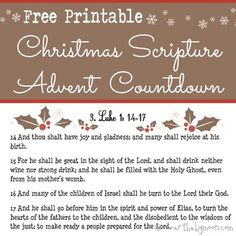 Free Printable Scripture Advent Calendar for Christmas. The biblical account of the Saviors birth broken into 24 days. Wonderful way to keep the true meaning of Christmas the entire month long! True Meaning Of Christmas, Christmas Love, A Christmas Story, Christmas Holidays, Christmas Crafts, Free Christmas Printables, Christmas Activities, Christmas Traditions, Free Printables