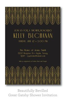 Art Deco Shower Invite --- Black and Gold --- Great Gatsby 1920s