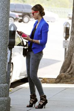 Jessica Alba's cobalt blazer and red shades: great transition move & way to soften up gray and black for an edgy-street-chic look!