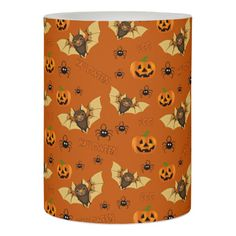 Bat pumpkin and spider pattern flameless candle Fully Customizable Gifts #halloween #Spookie #creepyhollow #candles
