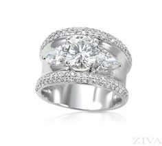 Wide Band Ring Setting with Pave Diamond Trim