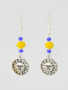 Antique Silver Suns with Yellow Czech Glass