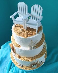 Weddings - Bake it Better #bakeitbetter #beach #beachwedding #beachcake #weddingcake #cake #seashells #ocean #adirondacks #adirondackchairs #beachchairs #wedding