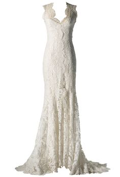 """Brides.com: How to Find the Perfect Wedding Dress for Your Body Type. Wedding Dresses for Lean and Straight Body Types: Monique Lhuillier. With a daring front slit, this lace sheath will let you flash a bit of those enviable legs. Re-embroidered lace modified trumpet dress with front slit, style """"Mila,"""" Monique LhuillierBrowse more lace, trumpet wedding dresses."""
