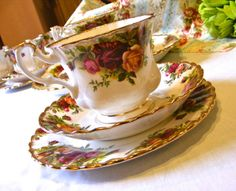 Vintage Royal Albert Old Country Roses Trio  by PluenArian on Etsy, £10.00