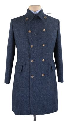 Luxire -   Molloy Plain Donegal Tweed - Blue overcoat from Luxire is an idol blend of comfort and style for the season.  Features: Patch pockets with flaps and barchetta pocket.