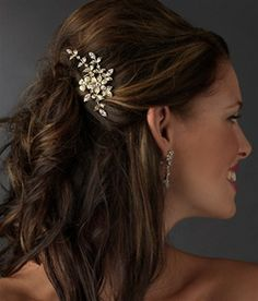 Gold Floral Side Wedding Comb, Rhinestone Bridal Hair Accessories