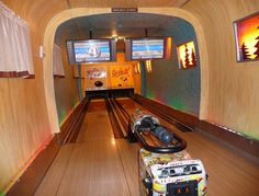 Airstream Bowling at the Silverton Casino    While we discovered many creative uses for Airstreams both old and new, few come close to the one at the Silverton Casino in Vegas. Set indoors, the familiar silver frame conceals one of the last things you'd expect to find inside — a fully functional (albeit miniaturized) two-lane bowling alley.