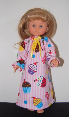 """Pink Stripe Nightgown  Doll Clothes for 13"""" Corolle Les Cheries and 14"""" Hearts 4 Hearts by TKCT on etsy"""