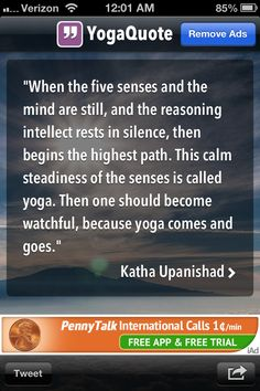 """Yoga means """"to yoke"""", to unite all aspects of our being.  Yoga comes and goes....when you are united or integrated or in line with reality...you are experiencing yoga."""