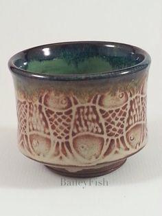 Beautiful Shino Tea Bowl with Original BaileyFish by PamBailey