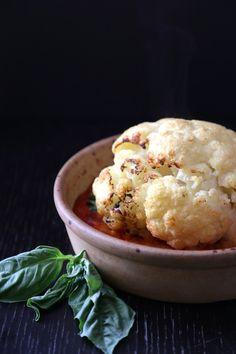 baked italian cauliflower with mozzarella & basil