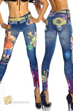 Leggings Jeggings Treggins Stretch Strumpfhose Jeans Blau Grau Blume Slimfit OS