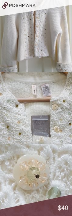 Sweater Winter white vintage style Anthropologie Sweaters Cardigans