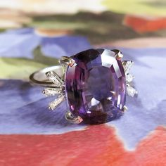 Vintage 1970's H.Stern Amethyst Baguette Diamond Cocktail Anniversary Birthstone Ring 18k White Gold by YourJewelryFinder on Etsy https://www.etsy.com/listing/468694249/vintage-1970s-hstern-amethyst-baguette