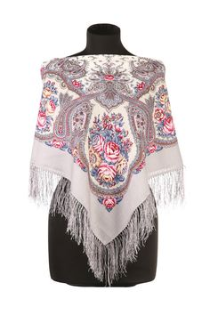 White floral scarf, Pavlovo Posad scarf  Beautiful womens shawl in Russian style a la russe Beautiful wool scarf that should be your everyday