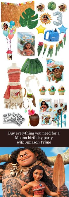 Buy Everything you Need for a Moana Birthday Party with Amazon Prime