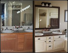 Budget Bathroom makeover ~ under a hundred bucks without the faucets! Paint your counters and cabinets!
