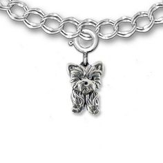 Sterling Silver Yorkie Puppy Charm for Charm Bracelet by the Magic Zoo