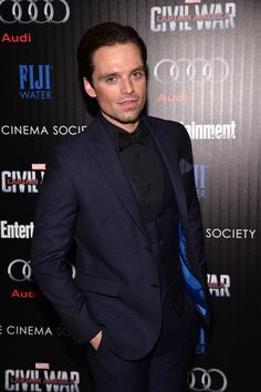 "Sebastian Stan Photos - Actor Sebastian Stan attends the Cinema Society with Audi and FIJI Water host a screening of Marvel's ""Captain America: Civil War"" on May 4, 2016 in New York City. - The Cinema Society With Audi and FIJI Water Host a Screening of Marvel's 'Captain America: Civil War'"